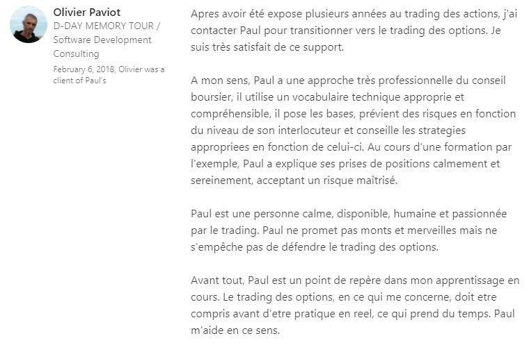 Recommandation LinkedIn Olivier